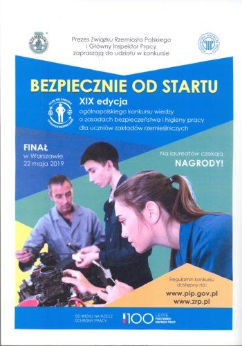XIX edycja Ogólnopolskiego Konkursu wiedzy o BHP dla uczniów z zakładów rzemieślniczych