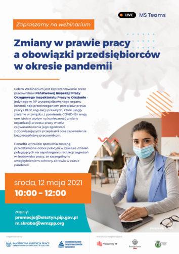 Zmiany w prawie pracy a obowiązki przedsiębiorców w okresie pandemii - Webinarium - Zapraszamy!!